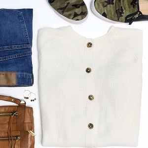 MADEWELL Oatmeal Backroad Button-Back Sweater